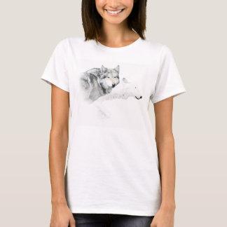 loup gris et loup blanc t-shirt