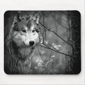 Loup gris - noir et blanc tapis de souris