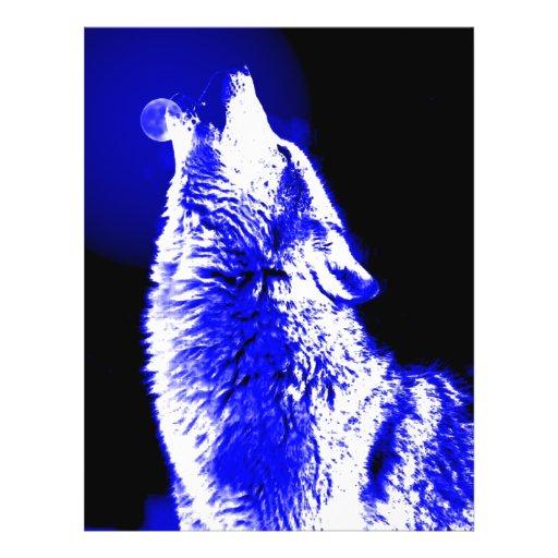 Loup hurlant à la lune prospectus en couleur