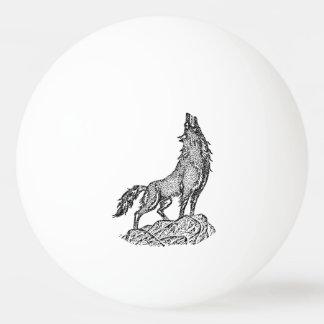 Loup hurlant à la silhouette de lune balle de ping pong