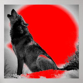 Loup hurlant à l'affiche rouge d'art de bruit de l posters