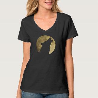 Loup hurlant le T-shirt de pleine lune