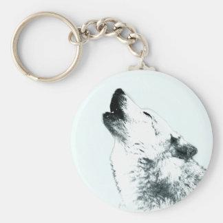 Loup hurlant porte-clés