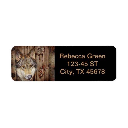 Loup indien indigène de receveur rêveur occidental étiquette d'adresse retour