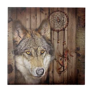Loup indien indigène de receveur rêveur occidental petit carreau carré