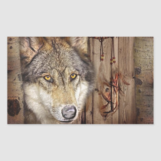 Loup indien indigène de receveur rêveur occidental sticker rectangulaire