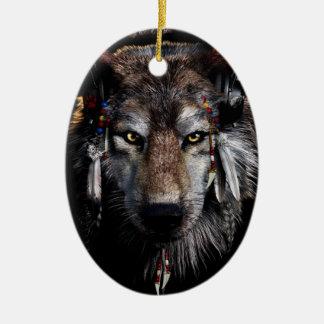 Loup indien - loup gris ornement ovale en céramique
