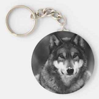 Loup noir et blanc porte-clé rond