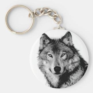 Loup noir et blanc porte-clef
