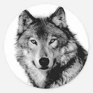 Loup noir et blanc sticker rond