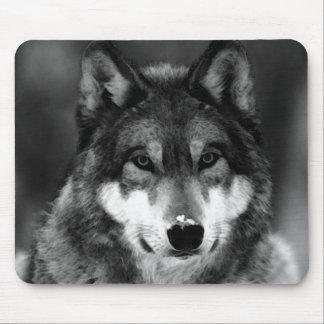 Loup noir et blanc tapis de souris