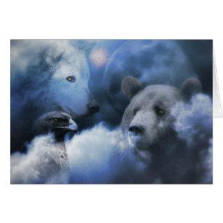 Loup, ours et carte de Noël d'Eagle bonnes fêtes