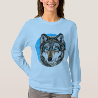 Loup peint (yeux bleus) t-shirt