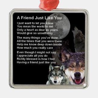 Loup - poème d'ami ornement carré argenté