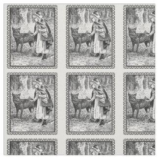 Loup rouge de capuchon d'illustration encadré par tissu