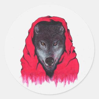 Loup rouge d'équitation (autocollants) sticker rond