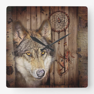 loup sauvage de receveur rêveur indien indigène ru pendule