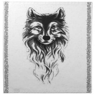 Loup sauvage serviettes en tissus