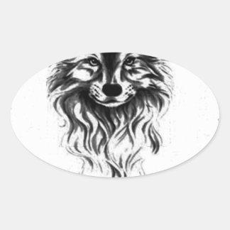 Loup sauvage sticker ovale