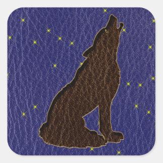 Loup simili cuir de zodiaque de Natif américain Sticker Carré