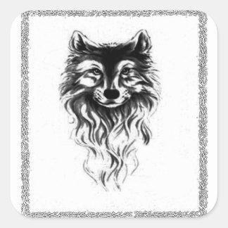 Loup Sticker Carré