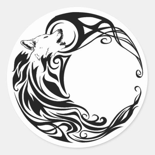 Loup tribal adhésif rond