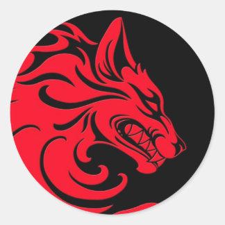 Loup tribal rouge et noir agressif autocollants