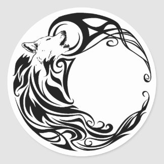 Loup tribal sticker rond