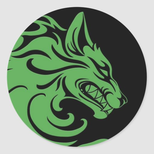Loup tribal vert et noir agressif adhésifs ronds