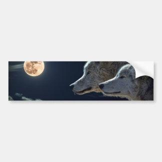 Loups blancs dans la pleine lune autocollant pour voiture
