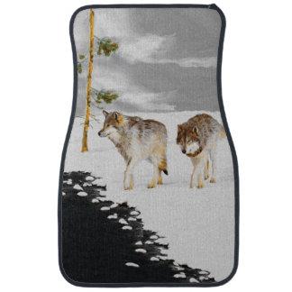Loups dans la neige tapis de sol