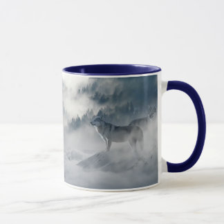 Loups dans la tasse de café d'hiver