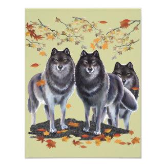 Loups dans l'automne carton d'invitation 10,79 cm x 13,97 cm