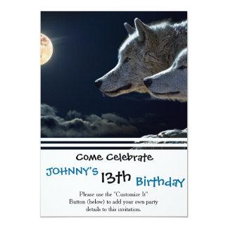 Loups de loup hurlant à la pleine lune carton d'invitation  12,7 cm x 17,78 cm