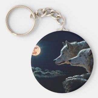 Loups de loup hurlant à la pleine lune porte-clé rond