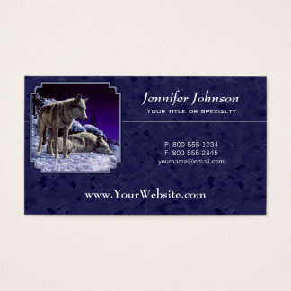 Loups gris dans le bleu de minuit de neige cartes de visite