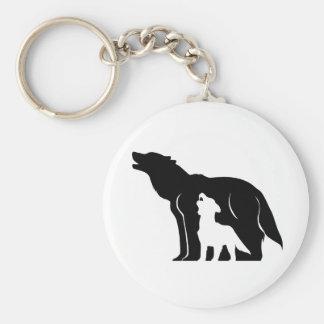 Loups noirs et blancs porte-clé rond