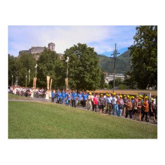 Lourdes, cortège du malade, carré de chapelet, carte postale