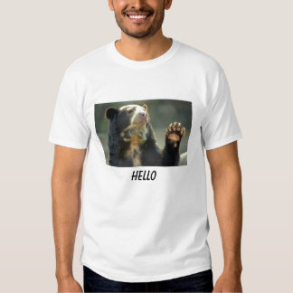 l'ours à lunettes indique BONJOUR T-shirts