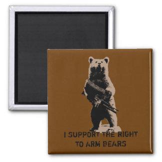 L'ours arme l'ours gris magnet carré