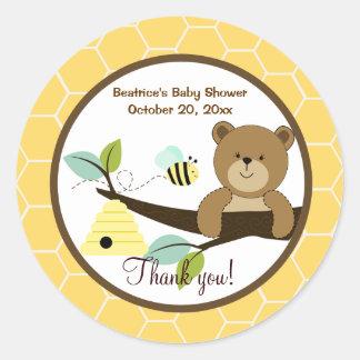L'ours de miel et gaffent l'autocollant rond de sticker rond