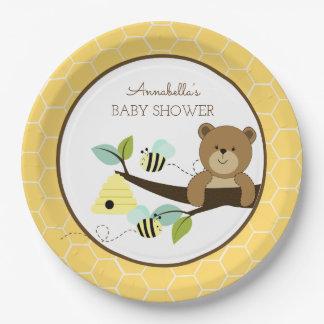 L'ours de miel et gaffent le plat de baby shower assiettes en papier