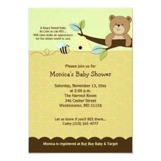 L'ours de miel et gaffent l'invitation de baby carton d'invitation  12,7 cm x 17,78 cm