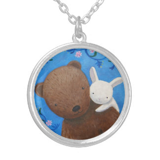 L'ours et le lapin aiment pour toujours la région pendentif rond