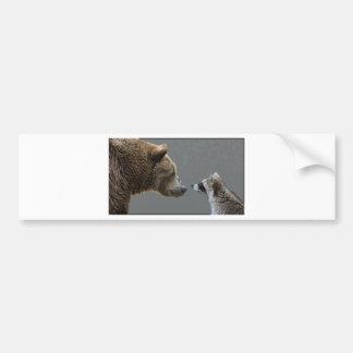L'ours grisonnant rencontre le raton laveur autocollant pour voiture
