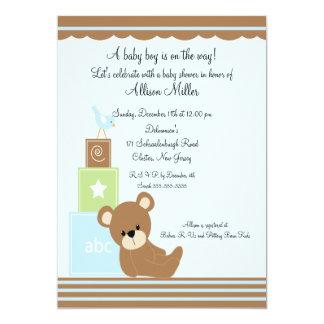 L'ours mignon de bébé bloque le baby shower de carton d'invitation  12,7 cm x 17,78 cm