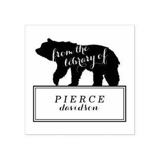 L'ours rustique badine l'étiquette d'ex-libris