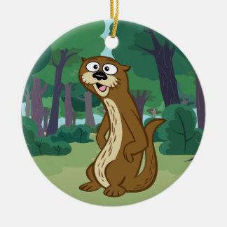 Loutre de Rick | Reggie de garde forestière Ornement Rond En Céramique