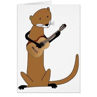 Loutre jouant la guitare carte de vœux