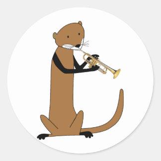 Loutre jouant la trompette sticker rond